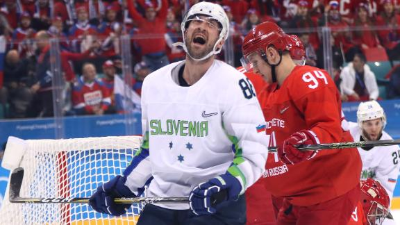 Slovenia's Sabahudin Kovacevic reacts during the game against the Olympic athletes from Russia. The Russians won 8-2.
