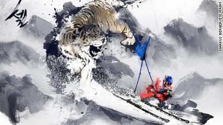 Aksel Lund Svindal chased down the slope by a Korean white tiger.
