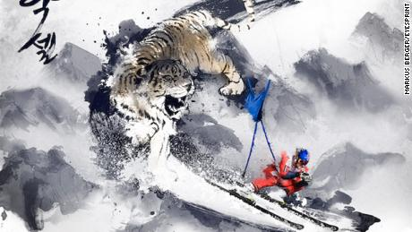 Aksel Lund Svindal chased down the slope by a Korean white tiger