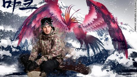 Snowboarder Mark McMorris and a phoenix.