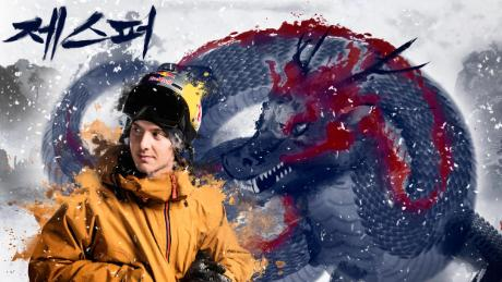 Swedish skiier Jesper Tjäder is depicted with a Korean dragon.