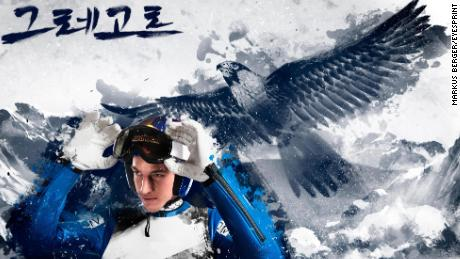 Austrian ski jumper Gregor Schlierenzauer is pictured with the common kestrel, to represent elegance, danger and speed.