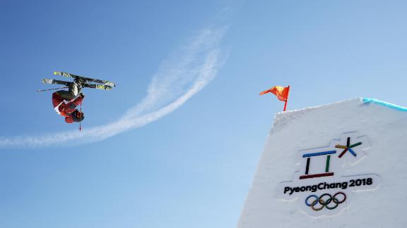 Canadian skier Kim Lamarre competes in the slopestyle competition.