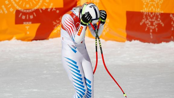 American skier Lindsey Vonn reacts after her super-G run. She finished tied for sixth after slipping near the end of her run.