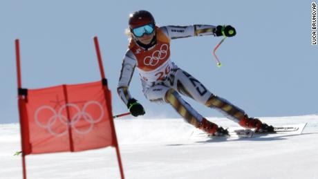 Ledecka competes in the women's super-G Saturday.