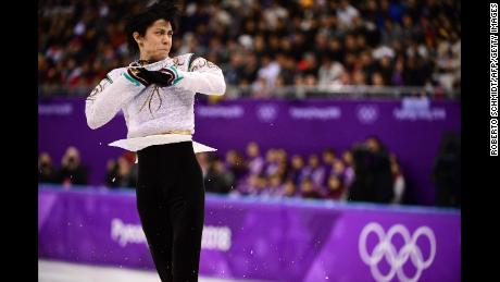 Japan's Yuzuru Hanyu during the 2018 Winter Olympic Games on February 17, 2018. (ROBERTO SCHMIDT/AFP/Getty Images)