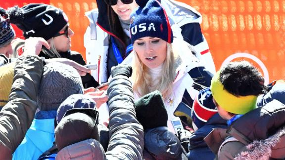 Vonn talking to the media after the race