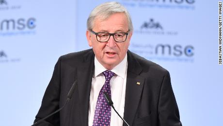 European Commission President Jean-Claude Juncker follows May at the security conference Saturday.