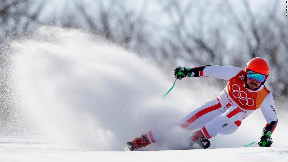 Austria's Marcel Hirscher competes during the first run of the men's giant slalom. The Austrian dominated the men's giant slalom at the World Cup in Beaver Creek in December and took home his first gold medal at the Winter Olympics in Pyeongchang.