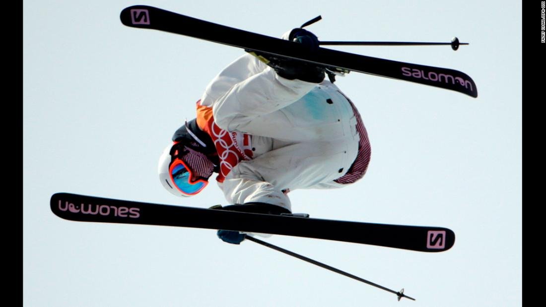 Antoine Adelisse of France competes in the men's slopestyle freestyle skiing.