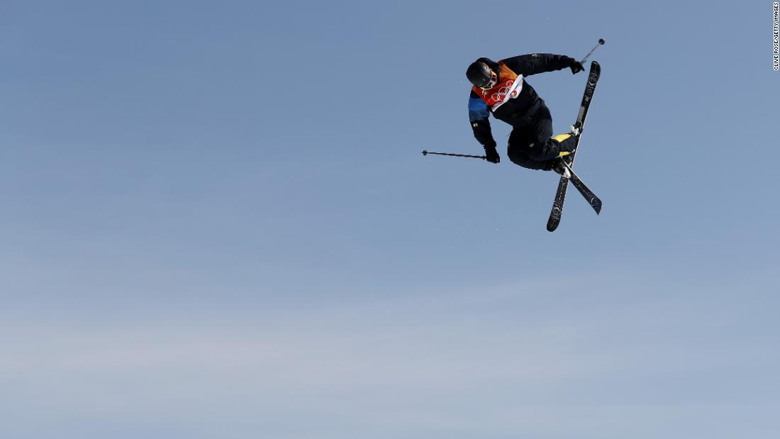 Oscar Wester of Sweden competes during the men's slopestyle freestyle skiing event. Wester topped the table with his second-round score of 95.40.