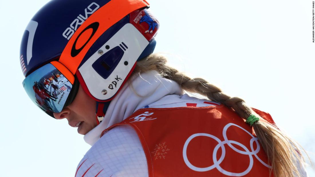 Lindsey Vonn of the United States looks on during the alpine skiing women's downhill training.