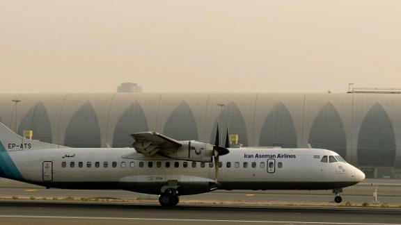 A July 2008 photo shows a French-made ATR-72 owned by Iran's Aseman Airlines at an airport in  Dubai.
