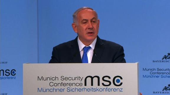 Israeli Prime Minister Benjamin Netanyahu addresses the Munich Security Conference on Monday, February 19.