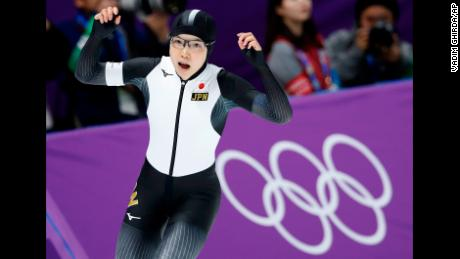 Japan's Nao Kodaira celebrates after setting a new Olympic record in the women's 500 meters speedskating race.