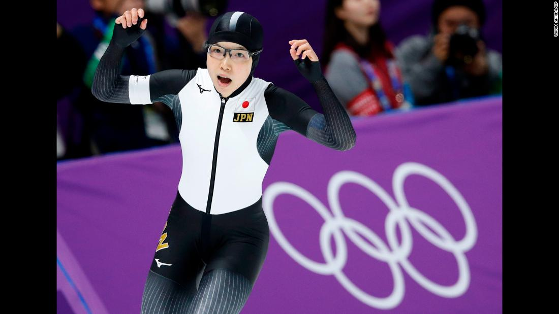 Japan's Nao Kodaira celebrates after setting a new Olympic record in the women's 500-meters speed skating event.