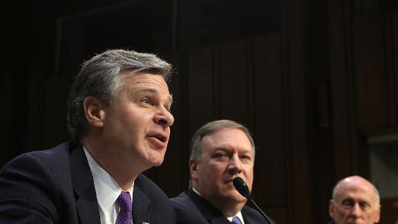 FBI Director Christopher Wray seen here on Capitol Hill in February.