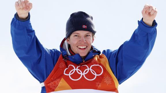 Gold medalist Oystein Braaten of Norway celebrates on the podium in Pyeongchang, South Korea.