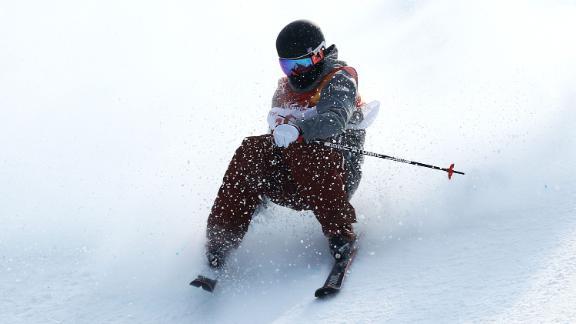 Gus Kenworthy of the United States crashes Men's Ski Slopestyle Final on February 18, 2018.