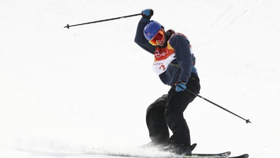 Oystein Braaten of Norway celebrates his first run during the men's ski slopestyle final.