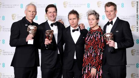 Martin McDonagh, Peter Czernin, Sam Rockwell, Frances McDormand and Graham Broadbent, accepting the best film award for 'Three Billboards Outside Ebbing, Missouri'