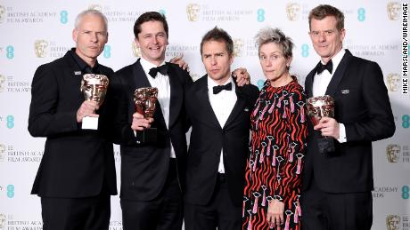 Martin McDonagh, Peter Czernin, Sam Rockwell, Frances McDormand and Graham Broadbent, accepting the Best Film award for 'Three Billboards Outside Ebbing, Missouri', pose in the press room during the EE British Academy Film Awards (BAFTAs) held at Royal Albert Hall on February 18, 2018 in London, England.