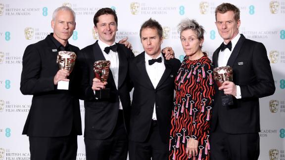 Martin McDonagh, Peter Czernin, Sam Rockwell, Frances McDormand and Graham Broadbent, accepting the best film award for 'Three Billboards Outside Ebbing, Missouri'