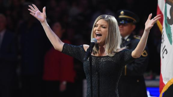 Fergie sings the National Anthem prior to the NBA All-Star Game 2018 at Staples Center in Los Angeles on February 18.