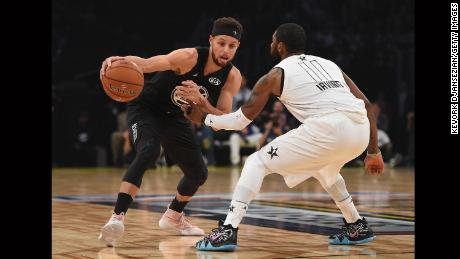 LOS ANGELES, CA - FEBRUARY 18:  Stephen Curry #23 of Team Stephen drives on Kyrie Irving #11 of Team LeBron during the NBA All-Star Game 2018 at Staples Center on February 18, 2018 in Los Angeles, California.  (Photo by Kevork Djansezian/Getty Images)
