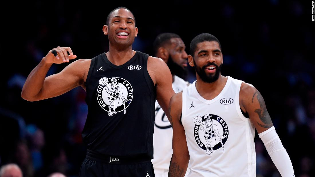 The new format split NBA teammates such as Boston's Al Horford, left, and Kyrie Irving.