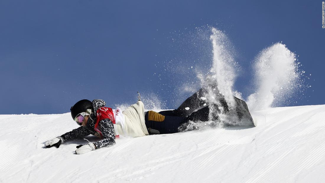 Czech snowboarder Katerina Vojackova crashes during the big-air competition.