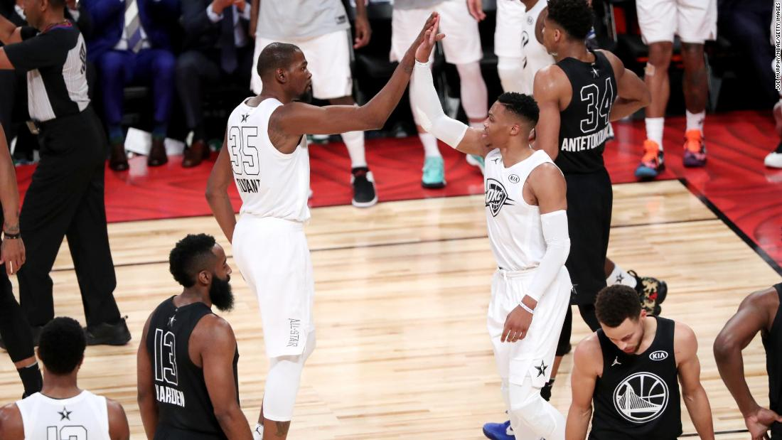 Former Oklahoma City teammates Kevin Durant and Russell Westbrook, seen here high-fiving, were reunited on Team LeBron.
