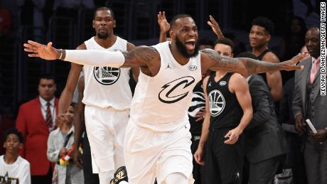 LOS ANGELES, CA - FEBRUARY 18:  LeBron James #23 of Team LeBron celebrates during the NBA All-Star Game 2018 at Staples Center on February 18, 2018 in Los Angeles, California.  (Photo by Kevork Djansezian/Getty Images)