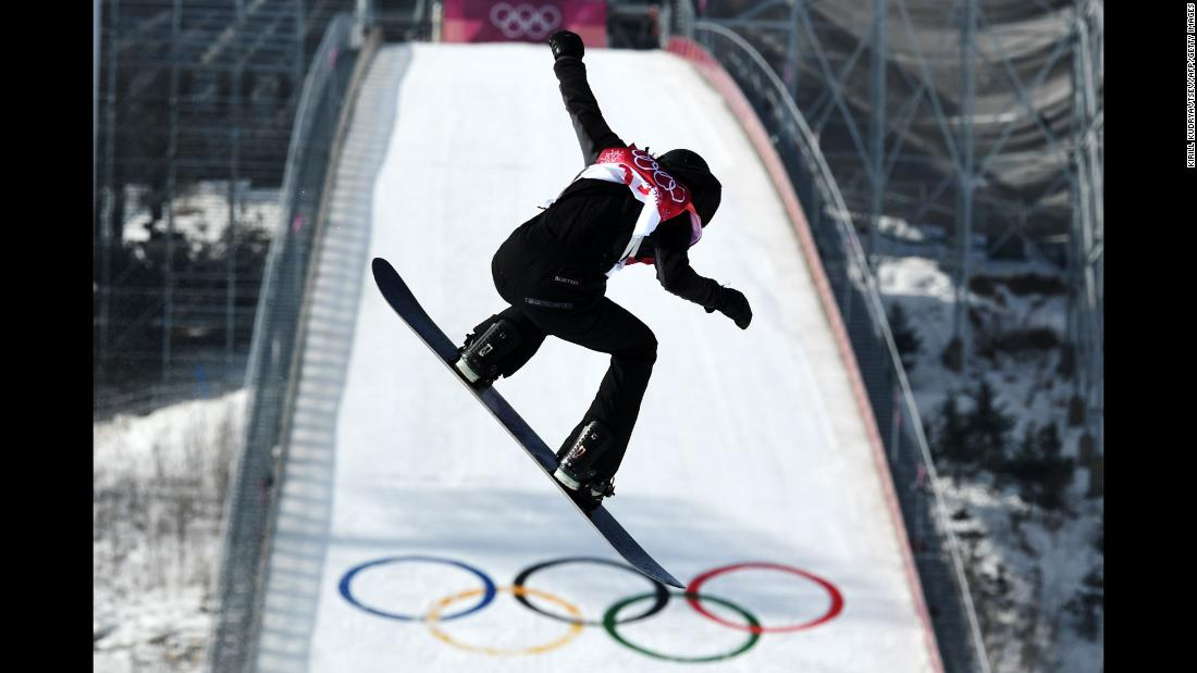 Canadian snowboarder Brooke Voigt competes in the big-air event.