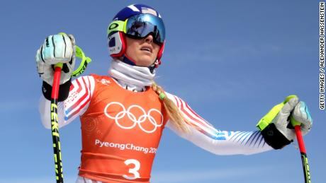 Lindsey Vonn of the United States trains for the women's Downhill at the PyeongChang 2018 Winter Olympic Games at Jeongseon Alpine Centre.