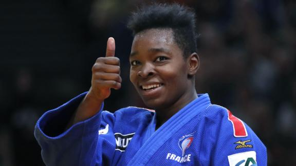 French Audrey Tcheumeo reacts after defeating Japan Ruika Sato during the -70 kgs final, on February 12, 2017 at the AccorHotels Arena in Paris, during the Judo Grand Slam Paris 2017.   / AFP PHOTO / PATRICK KOVARIK        (Photo credit should read PATRICK KOVARIK/AFP/Getty Images)