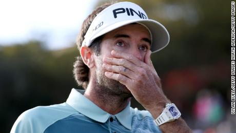 PACIFIC PALISADES, CA - FEBRUARY 18:  Bubba Watson reacts after winning the Genesis Open at Riviera Country Club on February 18, 2018 in Pacific Palisades, California.  (Photo by Dylan Buell/Getty Images)