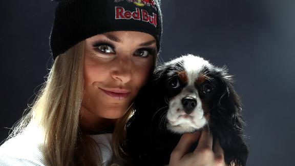 Lindsey Vonn poses with her dog Lucy.