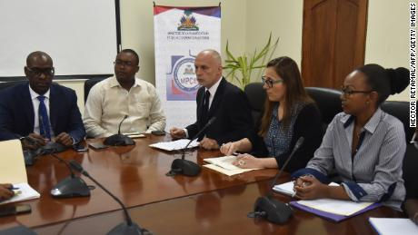 "Minister of Planning and External Cooperation, Aviol Fleurant(L)speaks during a meeting with Oxfam Regional Director for Latin America and the Caribbean, Simon Ticehurst(C) and Oxfam Intermon Executive Affiliate Unit head, Margalida Massot(2-R), in Port-au-Prince, on February 19, 2018. Oxfam issued its first direct apology to the Haiti government Monday following a report detailing the prostitution scandal that has shaken the NGO, expressing its ""shame"" and vowing to do better.""We came here to share the report with the minister and express our shame and apologies to the Haitian government and to the Haitian people,"" said Simon Ticehurst, Oxfam's regional director for Latin America and the Caribbean.  / AFP PHOTO / HECTOR RETAMAL        (Photo credit should read HECTOR RETAMAL/AFP/Getty Images)"