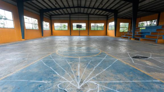 An old gymnasium in the Ciales municipality of Puerto Rico is marked for a colorful makeover.