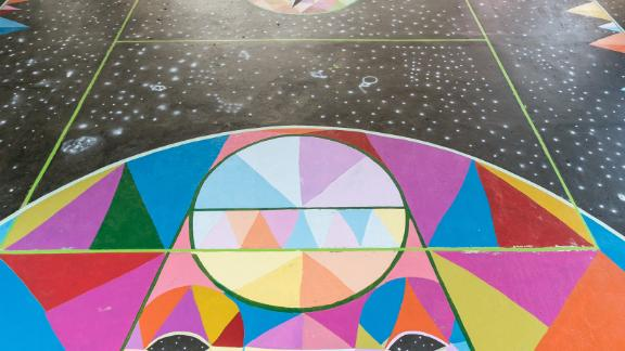 San Miguel is known for his multicolored, geometric, large-scale murals.