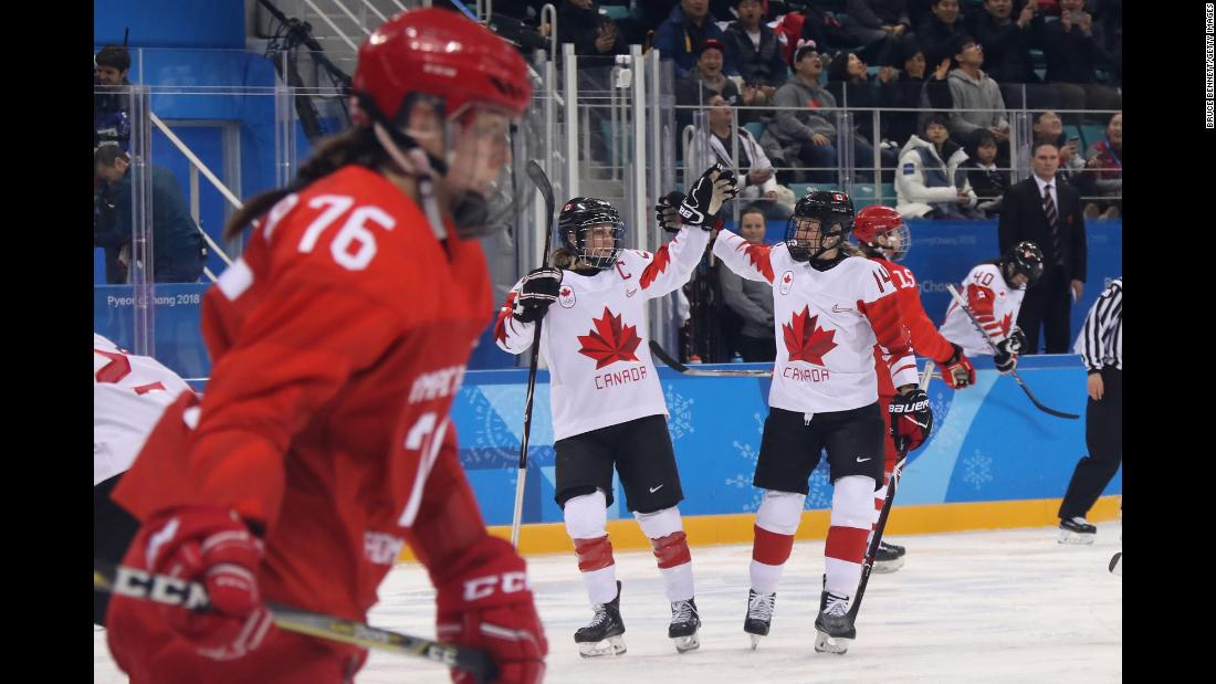 Team Canada celebrates after scoring a semifinal goal against the Olympic Athletes from Russia. Canada won 5-0 and will be in the gold-medal game once again.