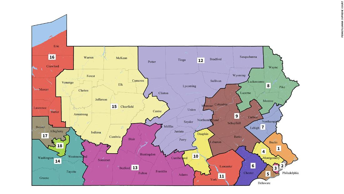 Court releases new Pennsylvania congressional maps