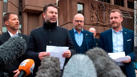 Bennell's victims -- (L-R) Steve Walters, Gary Cliffe, Chris Unsworth and Micky Fallon -- speak outside court on Monday.