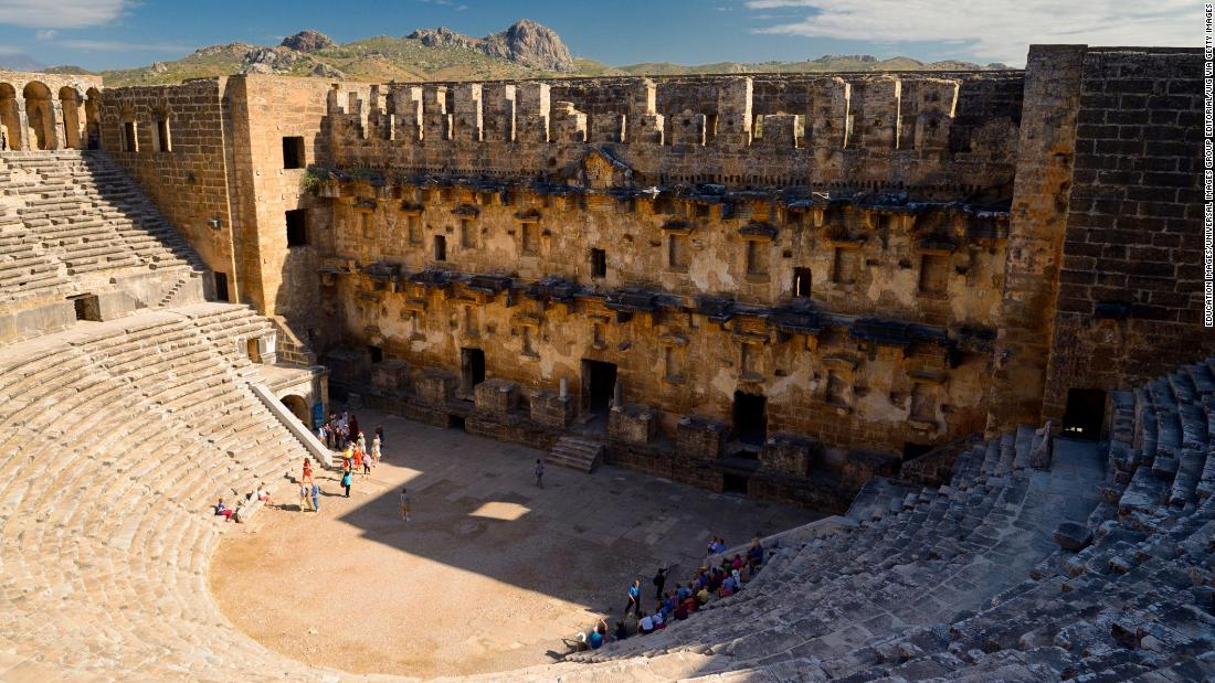 Three miles south of Belkis in southern Turkey are the ruins of Aspendos, a Greco-Roman city that passed into the hands of the latter in 189 BC.  The site's colossal theater dedicated to Marcus Aurelius remains its star attraction.