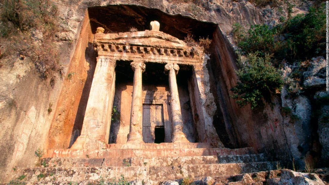 "The final resting place of ""Amyntas, son of Hermagios"" dates from the mid-4th century BC. Cut into the hillside overlooking the modern city of Fethiye, close to the Aegean Sea, it was built by the Lycians of Telmessos, a city-state that would go on to be conquered by Alexander the Great."