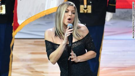 Singer Fergie sings the national anthem prior to  The 67th NBA All-Star Game: Team LeBron Vs. Team Stephen at Staples Center on February 18, 2018 in Los Angeles, California.