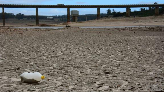 Low water levels are seen at a major dam in a suburb of Cape Town on February 16. For the past three years, Cape Town has been enduring its worst drought in a century. The city of 4 million people has had to implement emergency water restrictions to preserve what it has left.