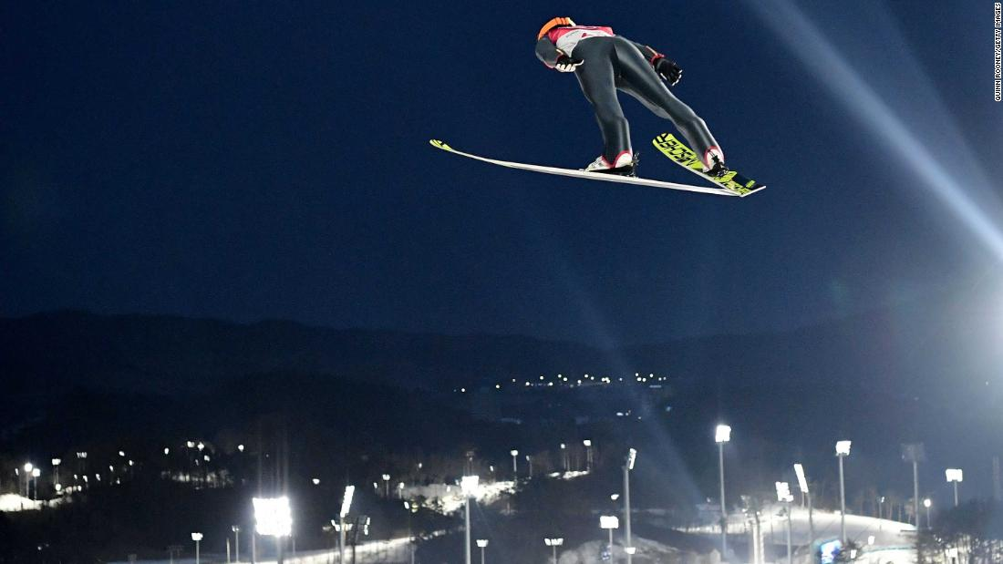 Japan's Akito Watabe competes during the ski-jumping portion of the Nordic combined.