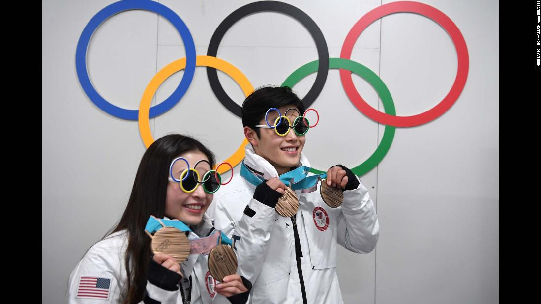 US ice dancers Maia and Alex Shibutani pose with their bronze medals.